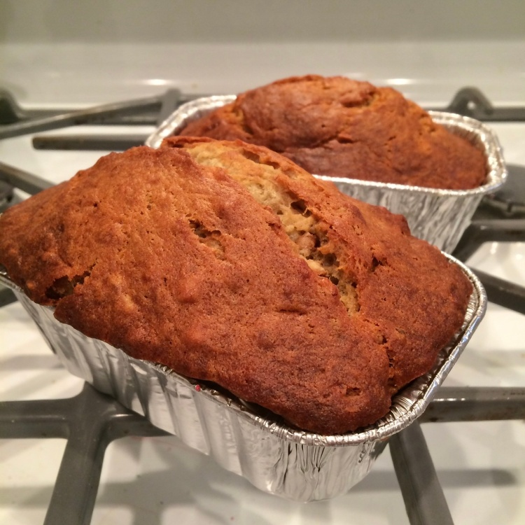 Two loaves of banana nut bread