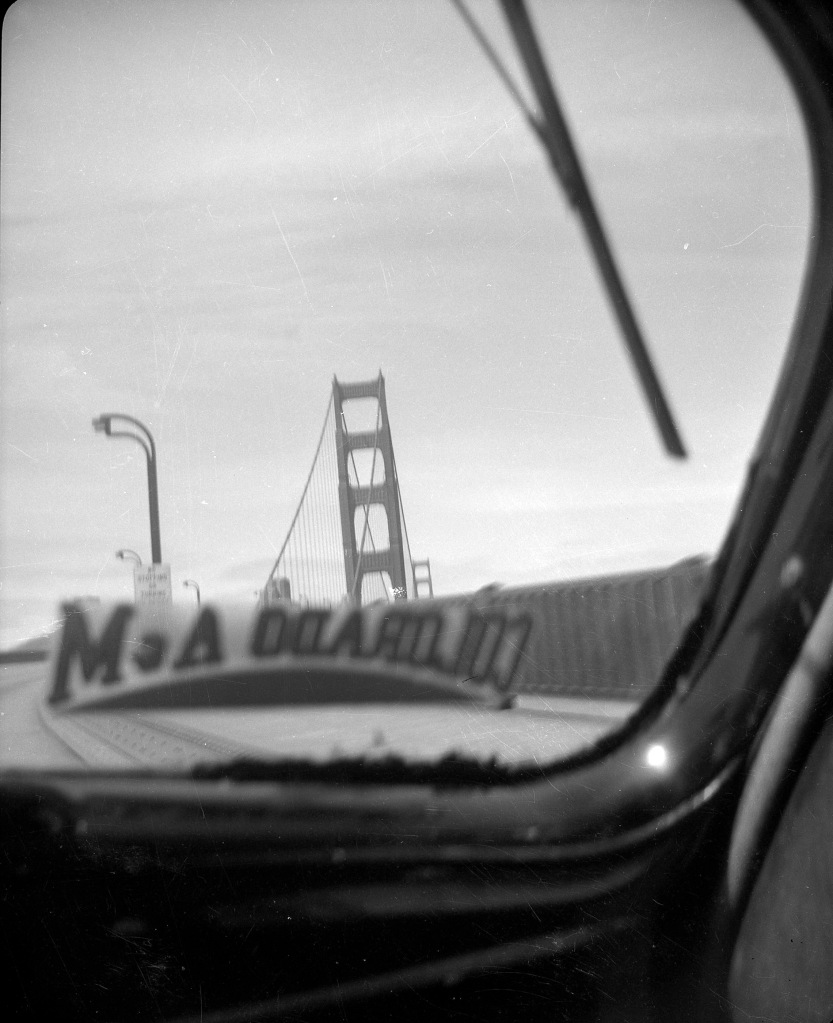View of the Golden Gate Bridge, San Francisco CA in 1948. View from inside the car window.